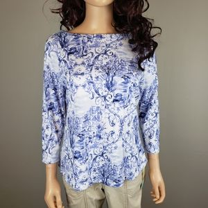 ✿❀ Charter Club Blue White Swirl Tee ❀✿